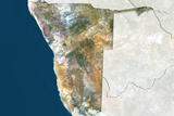 Namibia, True Colour Satellite Image with Border and Mask Lámina fotográfica