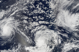 Satellite Image of Hurricanes Kenneth, Jova and Max, Pacific Ocean, in 2005 Photographic Print