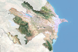 Azerbaijan, Satellite Image with Bump Effect, with Border and Mask Photographic Print