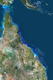 Satellite Image of Great Barrier Reef, Australia Lámina fotográfica