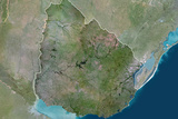 Satellite Image of Uruguay Photographic Print