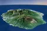 Satellite Image of Piton De La Fournaise Volcano in 3D, Reunion Island Photographic Print