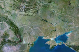 Ukraine, True Colour Satellite Image with Border Photographic Print