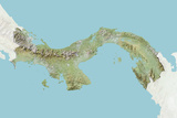 Panama, Relief Map with Border and Mask Lámina fotográfica