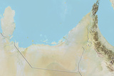 United Arab Emirates, Relief Map with Border Photographic Print