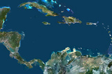 Satellite Image of Caribbean Sea, Central America Photographic Print