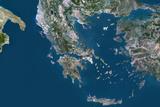 Satellite Image of Greece Photographic Print