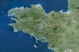 Satellite Image of Brittany Region, France Photographic Print