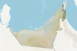 United Arab Emirates, Relief Map with Border and Mask Photographic Print