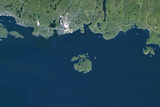 Satellite Image of Slate Islands Meteor Impact Crater, Ontario, Canada Photographic Print
