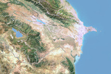 Azerbaijan, Satellite Image with Bump Effect, with Border Photographic Print
