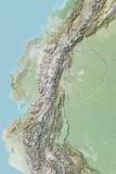 Ecuador, Relief Map with Border Photographic Print