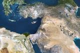 Satellite Image of the Near East Fotografie-Druck