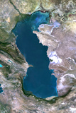 Satellite Image of Caspian Sea Photographic Print