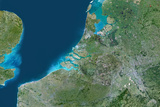 Satellite Image of Rhine, Meuse and Scheldt Delta, Netherlands Photographic Print