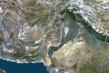 Pakistan, True Colour Satellite Image with Border Photographic Print