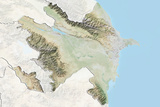 Azerbaijan, Relief Map with Border and Mask Photographic Print