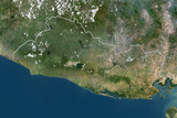 El Salvador, True Colour Satellite Image with Border Photographic Print