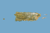 Puerto Rico, Satellite Image with Bump Effect Photographic Print