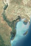 Satellite Image of Kura River Delta, Azerbaijan Photographic Print