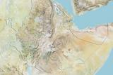Ethiopia, Relief Map with Border Photographic Print