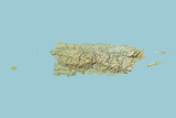 Puerto Rico, Relief Map Photographic Print
