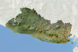 El Salvador, Satellite Image with Bump Effect, with Border and Mask Photographic Print