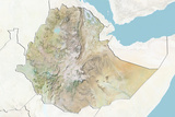 Ethiopia, Relief Map with Border and Mask Photographic Print