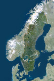 Satellite Image of Sweden Photographic Print