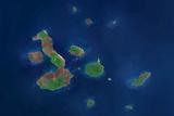 Satellite Image of Galapagos Archipelago, Ecuador Fotografie-Druck