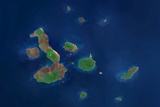Satellite Image of Galapagos Archipelago, Ecuador Photographic Print