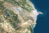 Azerbaijan, True Colour Satellite Image with Border Photographic Print
