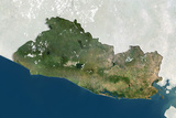 El Salvador, True Colour Satellite Image with Border and Mask Photographic Print