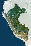 Peru, True Colour Satellite Image with Border and Mask Photographic Print