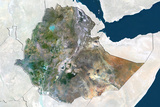 Ethiopia, True Colour Satellite Image with Border and Mask Photographic Print