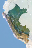 Peru, Satellite Image with Bump Effect, with Border and Mask Photographic Print