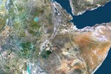 Ethiopia, True Colour Satellite Image with Border Photographic Print
