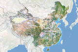China, Satellite Image with Bump Effect, with Border and Mask Photographic Print