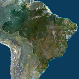Satellite Image of Brazil Photographic Print
