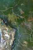 Bolivia, True Colour Satellite Image with Border Photographic Print