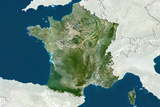 France, True Colour Satellite Image with Border and Mask Photographic Print