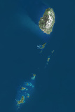 Saint Vincent and the Grenadines, True Colour Satellite Image with Border Photographic Print