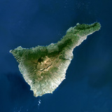 Satellite Image of Teide Volcano, Canary Islands, Spain Photographic Print