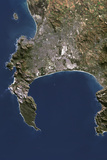 Satellite Image of Cape Town, South Africa Lámina fotográfica