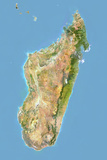 Madagascar, Satellite Image with Bump Effect, with Border Photographic Print