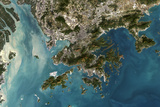 Satellite Image of Hong Kong Photographic Print