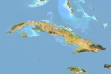 Cuba, Satellite Image with Bump Effect, with Border Photographic Print
