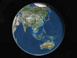 Satellite Image of Asia and Oceania Photographic Print
