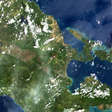 Satellite Image of Mayon Volcano, Philippines Photographic Print