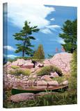 Ken Kirsch 'Canoe among Rocks' Wrapped Canvas Gallery Wrapped Canvas by Ken Kirsch